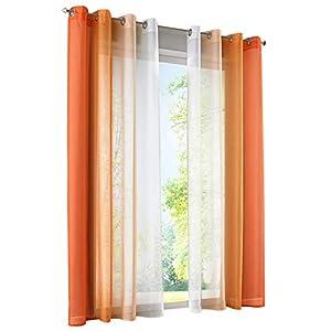 BAILEY JO 2er-Pack Gardinen mit Verlauf-Farben Muster Vorhang Transparent Voile Vorhänge (BxH 140x145cm, Orange mit Ösen…