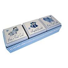 White Cotton Cards 3-in-1 Baby's First Tooth/Curl/Hospital Bracelet Box (Blue)
