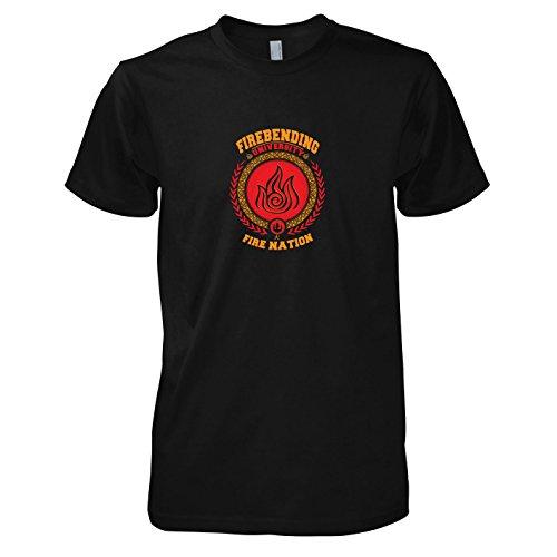 TEXLAB - Firebending University - Herren T-Shirt, Größe XL, schwarz (Aang Avatar Die Last Airbender Kostüm)