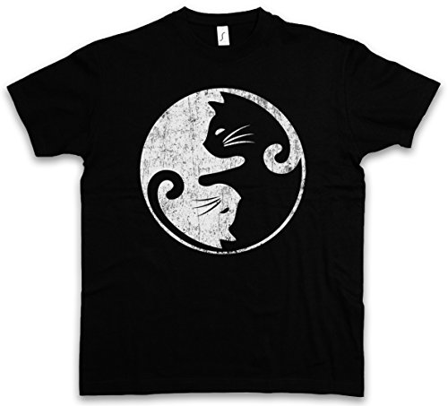Urban Backwoods Cats Yin & Yang T-Shirt – Taglie S – 5XL Nero
