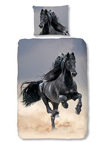 Aminata Kids - Kinder-Bettwäsche-Set 135-x-200 cm Pferd-e-Motiv Haus-Tier 100-{2d67b09d33fb0a89d5e828a694c87bf5d1d555c7ed0fc3662d2cdd237d8f28ca} Baumwolle Renforce bunt-e schwarz-e Einhorn