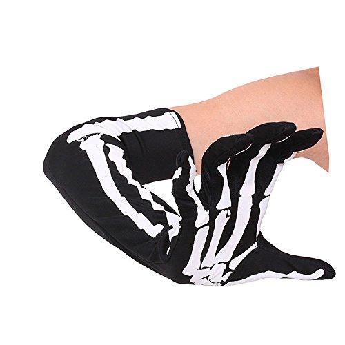 Finsink Halloween Lange Skelett Handschuhe Halloween Kostüm (schwarz,EIN Paar)