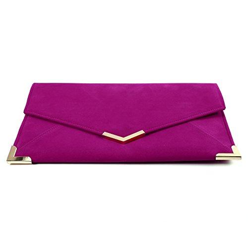 Damen Umschlag Tasche Wildleder Clutch Bag Abendtasche Umhaengetasche Rosa