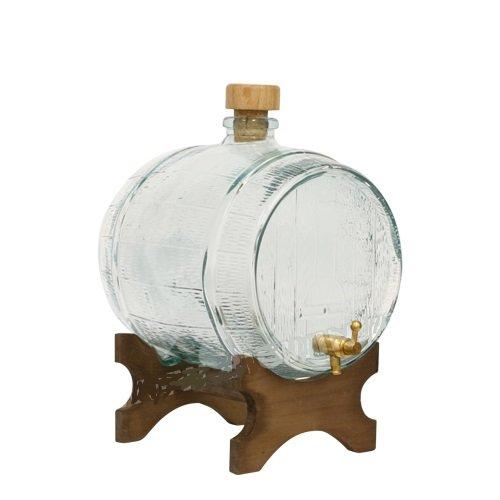 WEINFASS mit ZAPFHAHN SCHNAPSFASS WHISKYFASS 2L GESCHENK GLAS FASS KARAFFE 69102 (Fass Glas Glas)