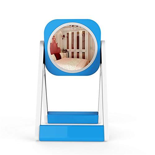 LED Spiegel Tischlampe Wiederaufladbare Tischlampe Dimmen Farbe Kinderauge Lampe Quadratische Kosmetikspiegel (Color : Blue)