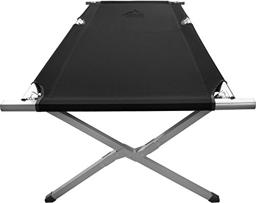 normani Gästebett - Klappbett - Feldliege aus Aluminium Feldbett - Campingbett 190 cm Liegefläche Farbe Schwarz