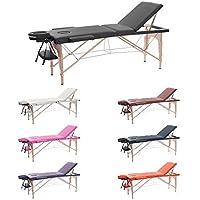 HH-ROOT 3 Section Table de Massage Grande Canapé Lit Plinthe de Thérapie Salon Tatouage Reiki Massage Suédois Thérapeutique 13.5Kg (Noir)