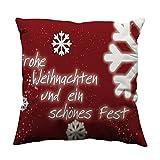 Mitlfuny Kissenbezug Weihnachten ZierkissenbezüGe 45 X 45 cm, Weihnachten Serie Dicker Baumwolle Leinen Dekorative Kissenbezug Kissenbezug FüR Sofa Dekokissen Fall