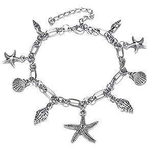 Aienid Edelstahl Silber Anklet für Frauen Seestern Size:20CM