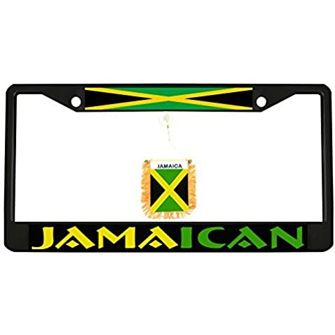 Jamaican black Metal Auto License Plate Frame Car Tag Holder with car banner flag hanger by New Custom Auto Tag