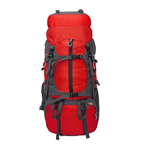 Professionelle Bergsteigen Outdoor Travel Camping Große Kapazität Wasserdichte 50L Rucksack,Red Red