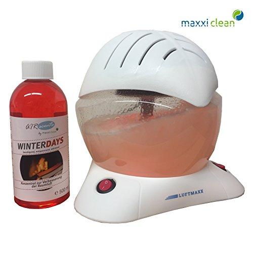 Maxxi Clean Luftmaxx Air Bowl Duft Winterdays 0,5L Luftreiniger Luftreinigerkonzentrat Lufterfrischer für Allergiker Luftreinigungsgerät reinigt, ionisiert Raumluft mit Wasser, Pure Air Qualität