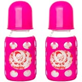 Naughty Kidz PREMIUMWARMER Glass Bottle With Ultrasoft LSR Nipple||Silicone Bottle Warmer||Key TEETHER||Hood RETAINING Cap And Sealing DISC RING-120ML+120ML (Pink+Pink)