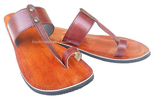 n Jesus Sandalen Biblische Leder Sandalen Braun Zehenriemen Hippie Indische Sandalen, Braun (braun), 45 EU ()