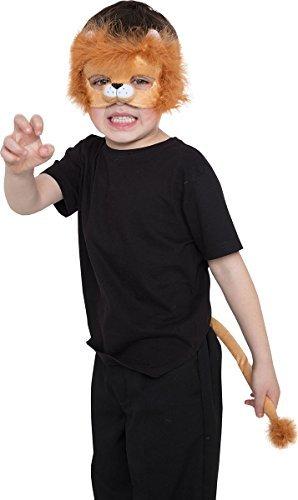 Kinder Jungen Mädchen Buch Woche Tag Party Kostüm Tier Satz (Maske+Schwanz) - Löwe, One Size