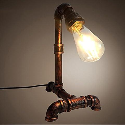 SHDT Neue Nostalgische industrielle Wasserpfeife Tisch Lampe Persönlichkeit Nachttisch Lampe Lesen neben Schlafzimmer Cafe Home Bar Dekoration , 2