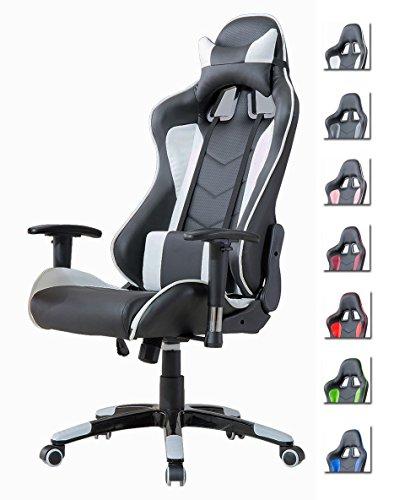 Delman Racing Bürostuhl Gaming Chair Schreibtischstuhl Drehstuhl Sportsitz Ergonomischer PU Leder Höhenverstellbar mit Armlehnen 02-1004 (Schwarz-Weiß)