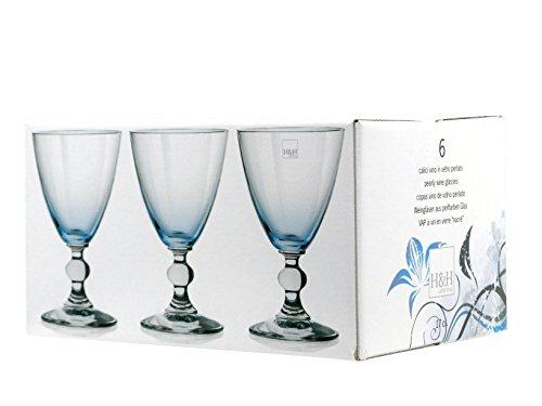 H&H Splendor Set Weinkelche, Glas, Blau, 17 cl, 6 Stück