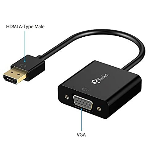HDMI to VGA, 1080P with Audio Port, Rankie Gold-Plated Active HDMI HDTV to VGA Adapter Converter Male to Female with Micro USB & 3.5mm Audio Port Cable - R1150 (Black)