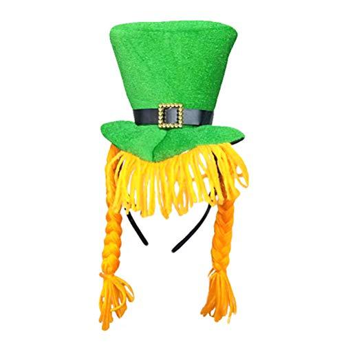 BESTOYARD Novedad Día de San Patricio Sombrero de Fiesta Verde Duende  Sombrero de Copa con Trenzas 62d48be2d88