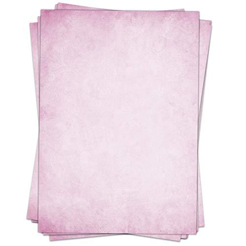 50 Blatt im Set: Briefpapier Vintage Rosa - edel - Motiv: Papier alt DIN A4 - beidseitig bedruckt
