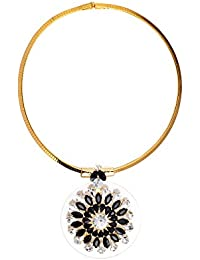 Chooseberry Gold Plated Black & Gold Pendant Choker Necklace Set With Earrings For Girls And Women Modern Wear