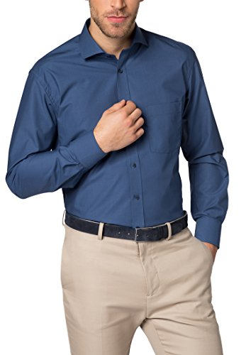 Eterna long sleeve Shirt MODERN FIT Chambray uni Blu