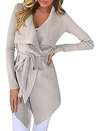 Femme Manteaux,Asymétrique Mi-Longue Trench Coat Ceinture Chaud Veste  Manches Longues Cardigan Outwear 8a9e742b501c