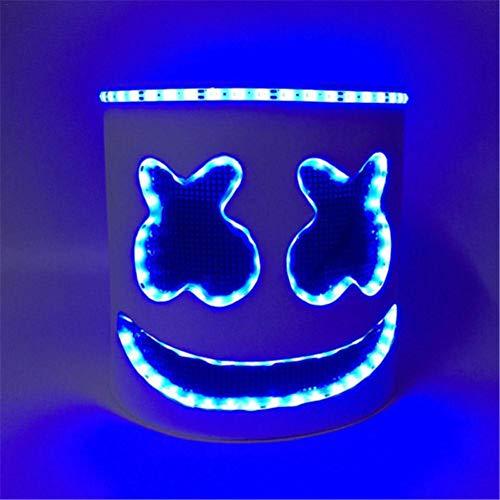 Ridecyle LED-Musik-DJ-Maske, Js Marshmello Gummi-Latexhelm, Party-Requisiten, Vollkopf-Maske für Musik-Festival, Neuheit Kostümparty und Bars Unterhaltungsabende, blau,