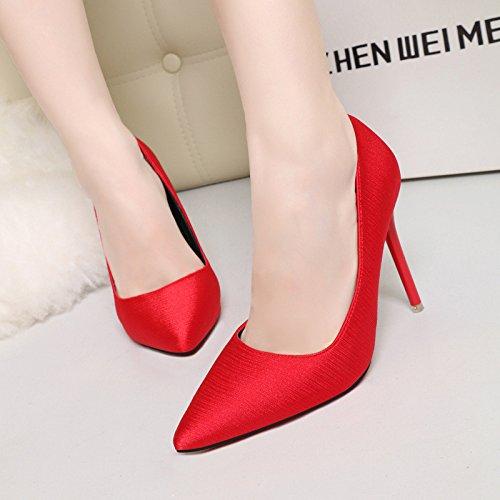 Damasco scarpe singola versione coreana di semplice punta fine con tacco alto sexy video nightclub sottile di raso di seta unico di scarpe a tacco alto Calzature Calzature donna The Red