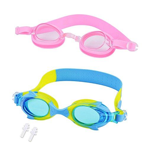 Fansport Schwimmbrille für Kinder, 2PCS Schwimmbrille UV Schutz Anti Fog Schutzbrille für Mädchen Jungen
