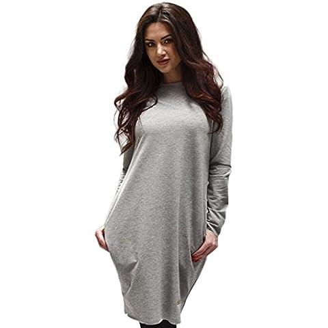 FEITONG donne inverno casual sciolto manica lunga aderente abito lungo