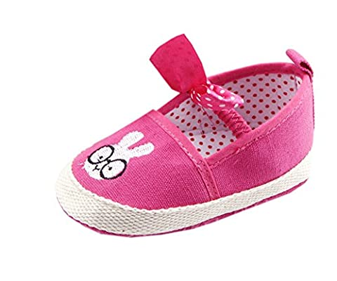 Luck Bébé Filles Enfant Chaussure Toile Bowknot Lapin Doux pour Enfant (11cm, Rose Rouge)