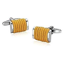 Idea Regalo - Aooaz Regalo di Natale Gemelli da Polso Winding Rope Rectangle Silver Yellow 1.2X1.6CM Gemelli Camicia Uomo Matrimonio Giallo Argento Gemelli per Camicia