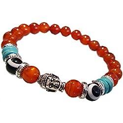 Young & Forever Divine Spiritual Unisex Men, Women Carnelian Beads Evil Eye Bracelet Healing Energy Stone Reiki Bracelet Gemstone Bracelet