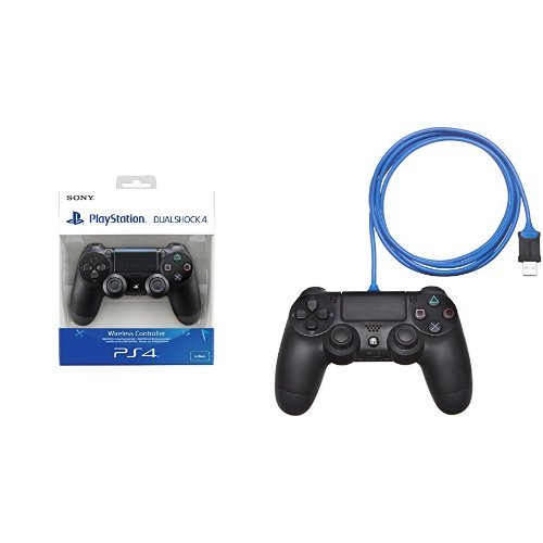 PlayStation 4 - DualShock 4 Wireless Controller, schwarz (2016) + AmazonBasics-Ladekabel