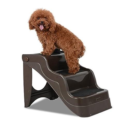 Voilamart 3 Steps Pet Dog Stairs Ladder Assistance Lockable Folding