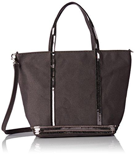 Vanessa Bruno Damen Cabas Petit Coton et Paillettes Einkaufstasche, Grau (Anthrazit), 1x13x9 cm (Designer-handtaschen Clearance)