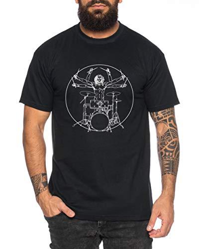 973ab46d43083 Vinci Drums Maglietta da Uomo Cool Fun Shirt, Farbe2:Nero, Größe2:X-Large