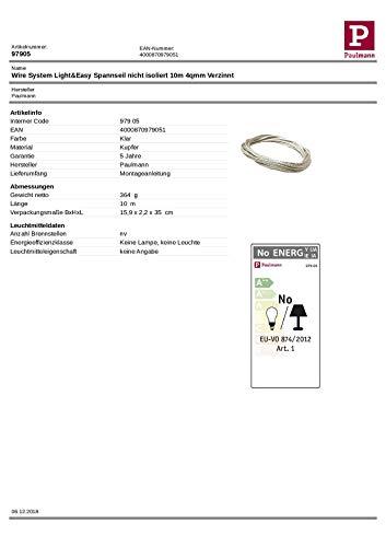 Paulmann 97905 Seil-Zubehör Spannseil unisoliert Ergänzung für Seilsysstem 10 m 4 mm² Verzinnt Zubehör Halogen Seilsysteme 12V