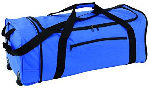 Reisetasche Trolley faltbar Trolleytasche 2 Leichtlauf Skaterrollen blau ca 1,3kg verstell & abnehmbarer Schultergurt + Schulterpolster