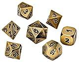 Blacksmith Craft Dice DND Wice Set - Metall Polyhedral Dungeons und Dragons Würfel-Sets mit Würfeltasche für RPG Gaming inkl. D20 Regular Glimmering Gold