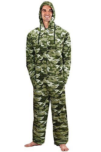 Herren Kapuzen Tarnfarben Fleece Overall Schlafanzüge - Camouflage, M (Regelmäßige Fitting)