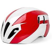Flowerrs Casco Scooter Casco de Montar a Caballo Ajustable de una Pieza Cascos de ventilación múltiples múltiples Casco Ligero de la Bici (Blanco + Rojo) Skate Helmet