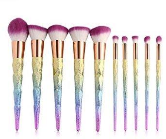 fwehfefh Maquillage Brush Set En Bois Maquillage Professionnel Set Eye Brush Set Fondation Brosse Poudre Pinceau Set Purple 10PCS other