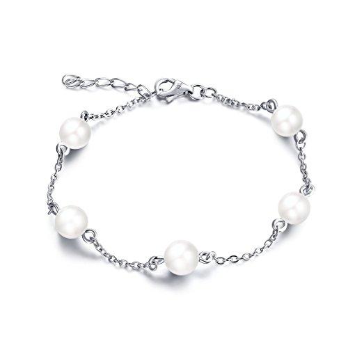 YL Schmuck Sterling Silber weißes Gold überzogen und Perlen-Armband für Damen und Mädchen, (Multi Armband Perlen)
