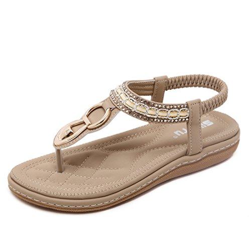 Estivi bassi sandali gioiello donna eleganti comode etnici tacco basso aperti strass infradito