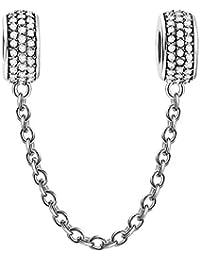 Soufeel White Sicherheitskette mit Clip Damen-Bead 925 Sterling Silber Charms Beads