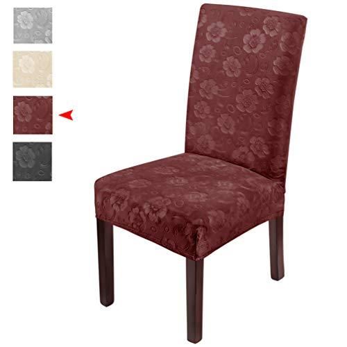 LUOLLOVE Stuhlhussen,Blumenmuster Samt Stretch Stuhlhusse,Spandex Waschbare Stuhlbezug,Stuhlhussen Schwingstühle(4PCS-Rot)