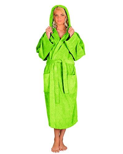 Astra peignoir de bain pour femme/homme à capuche, 100% coton en tissu éponge, longueur moyenne (L/XL, Vert clair)